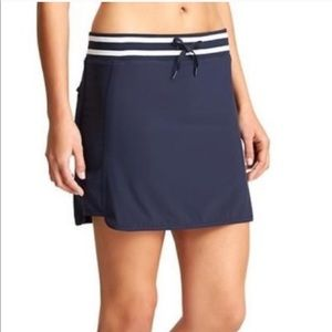 Athleta Navy Blue Sonora Striped Skort Skirt